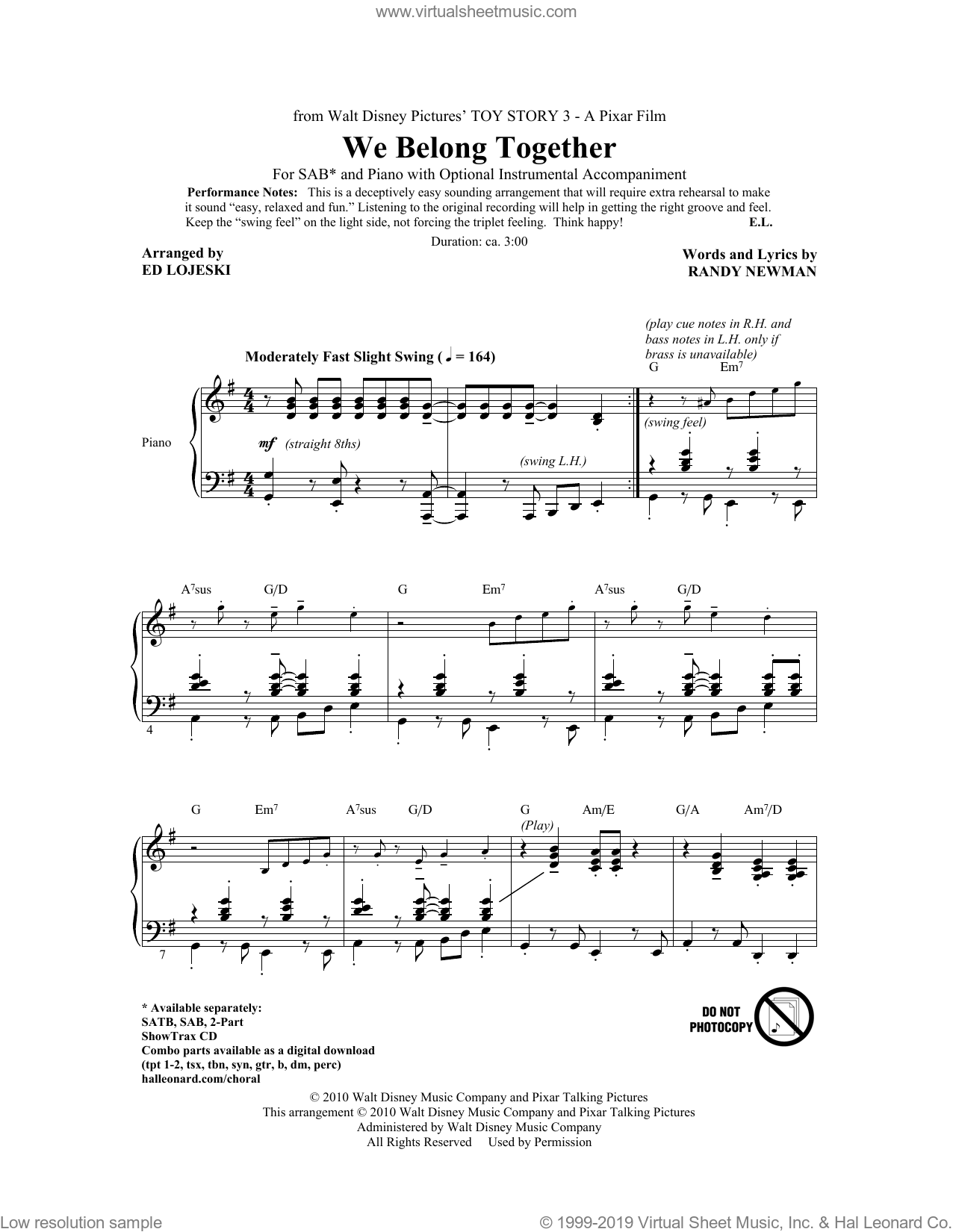 We Belong Together (from Toy Story 3) sheet music for choir (SAB) by Randy Newman and Ed Lojeski, intermediate. Score Image Preview.