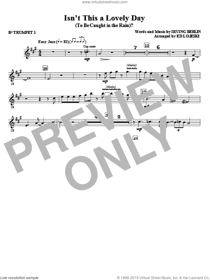 Isn't This A Lovely Day (To Be Caught In The Rain)? (complete set of parts) sheet music for orchestra/band by Irving Berlin and Ed Lojeski, intermediate skill level