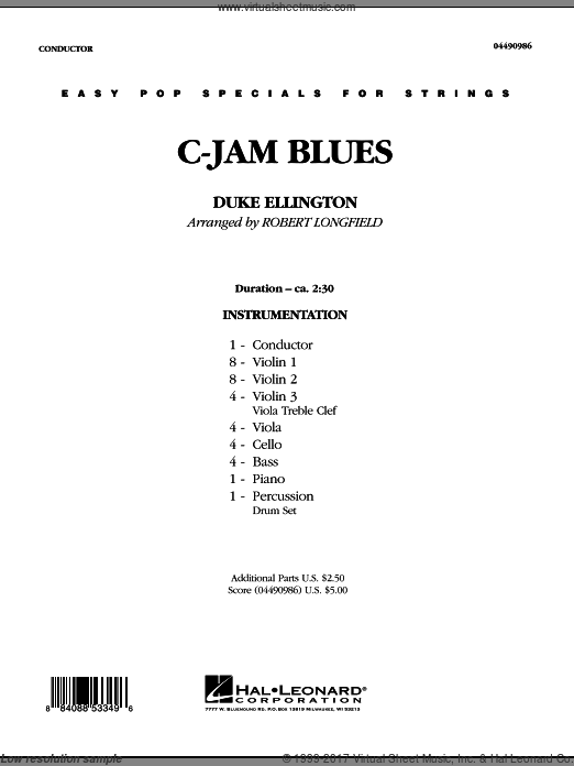 C-Jam Blues (COMPLETE) sheet music for orchestra by Duke Ellington