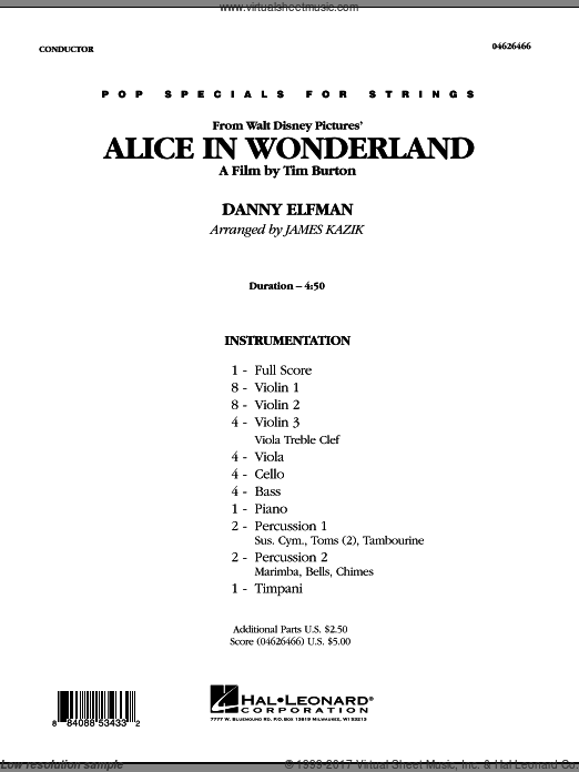 Alice In Wonderland (COMPLETE) sheet music for orchestra by Danny Elfman