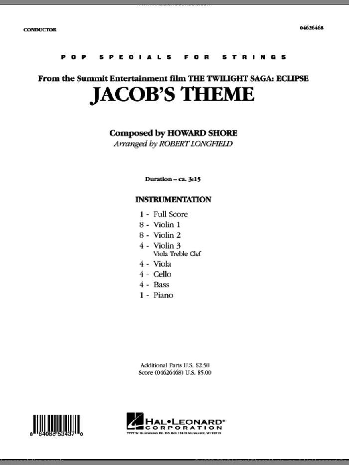 Jacob's Theme (from The Twilight Saga: Eclipse) (COMPLETE) sheet music for orchestra by Howard Shore and Robert Longfield, intermediate orchestra. Score Image Preview.
