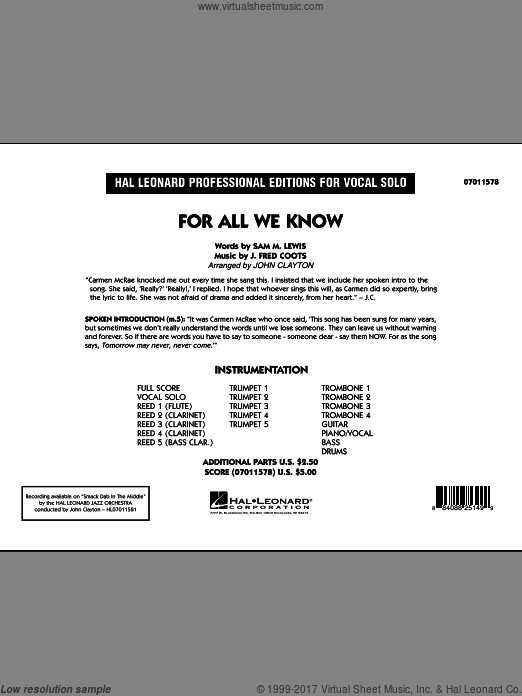 For All We Know (COMPLETE) sheet music for jazz band by J. Fred Coots