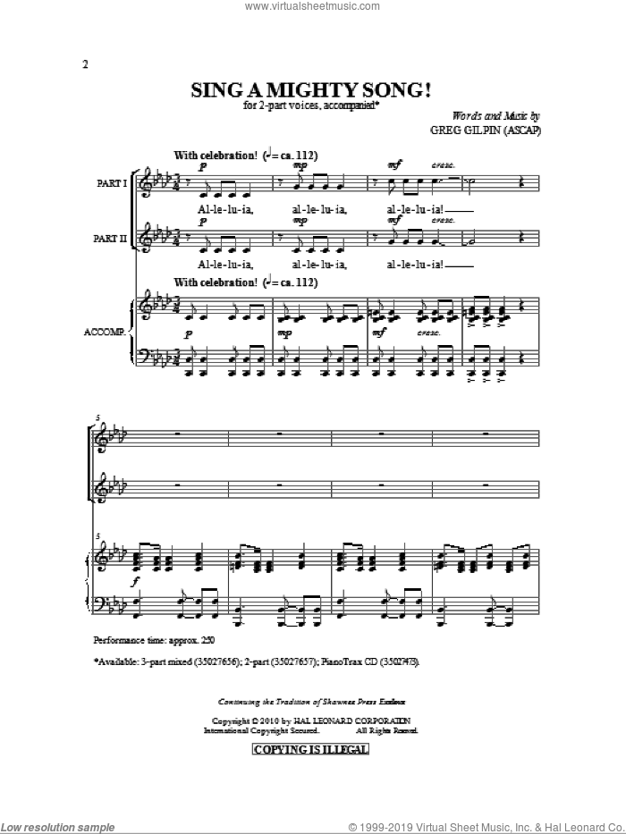 Sing A Mighty Song! sheet music for choir (2-Part) by Greg Gilpin, intermediate duet. Score Image Preview.