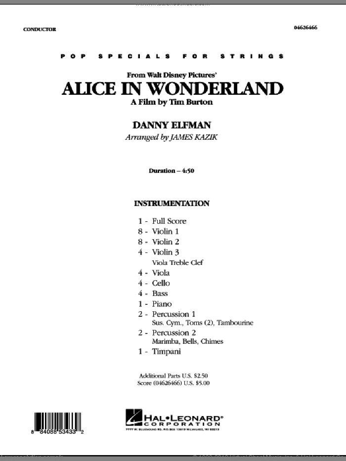 Alice In Wonderland (COMPLETE) sheet music for orchestra by Danny Elfman and James Kazik, intermediate
