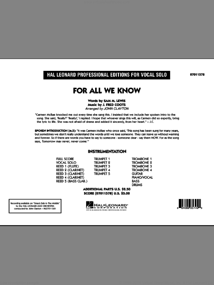 For All We Know (COMPLETE) sheet music for jazz band by J. Fred Coots, Sam Lewis, Carmen McRae, Carpenters and John Clayton, intermediate skill level