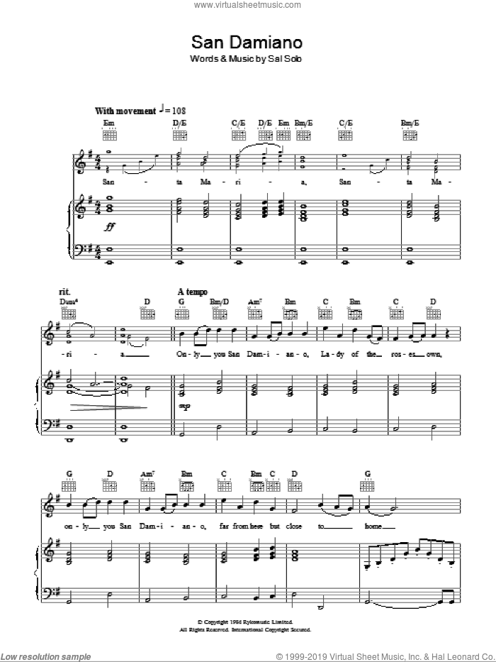 San Damiano sheet music for voice, piano or guitar by Aled Jones and Sal Solo, intermediate skill level
