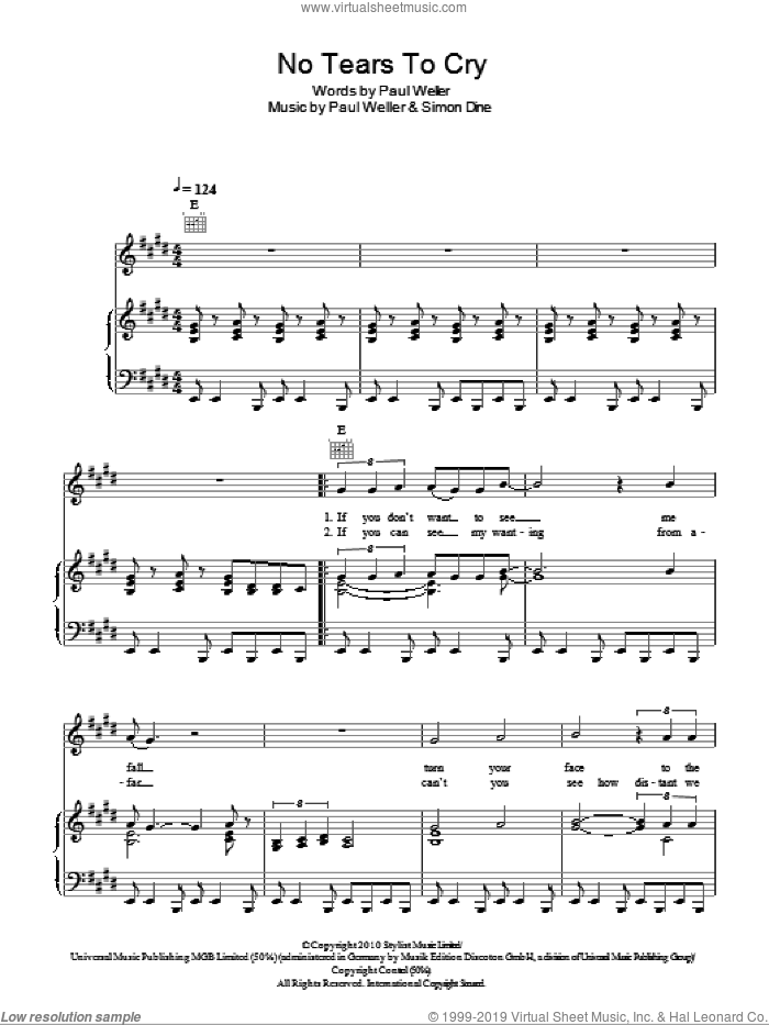 No Tears To Cry sheet music for voice, piano or guitar by Paul Weller and Simon Dine, intermediate. Score Image Preview.