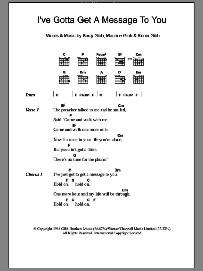 I've Gotta Get A Message To You sheet music for guitar (chords) by Bee Gees, intermediate. Score Image Preview.