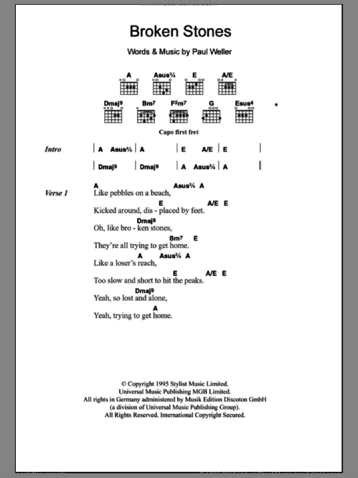 Weller Broken Stones Sheet Music For Guitar Chords Pdf