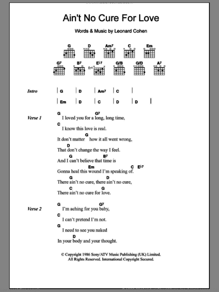 Ain't No Cure For Love sheet music for guitar (chords) by Leonard Cohen and Jennifer Warnes, intermediate guitar (chords). Score Image Preview.