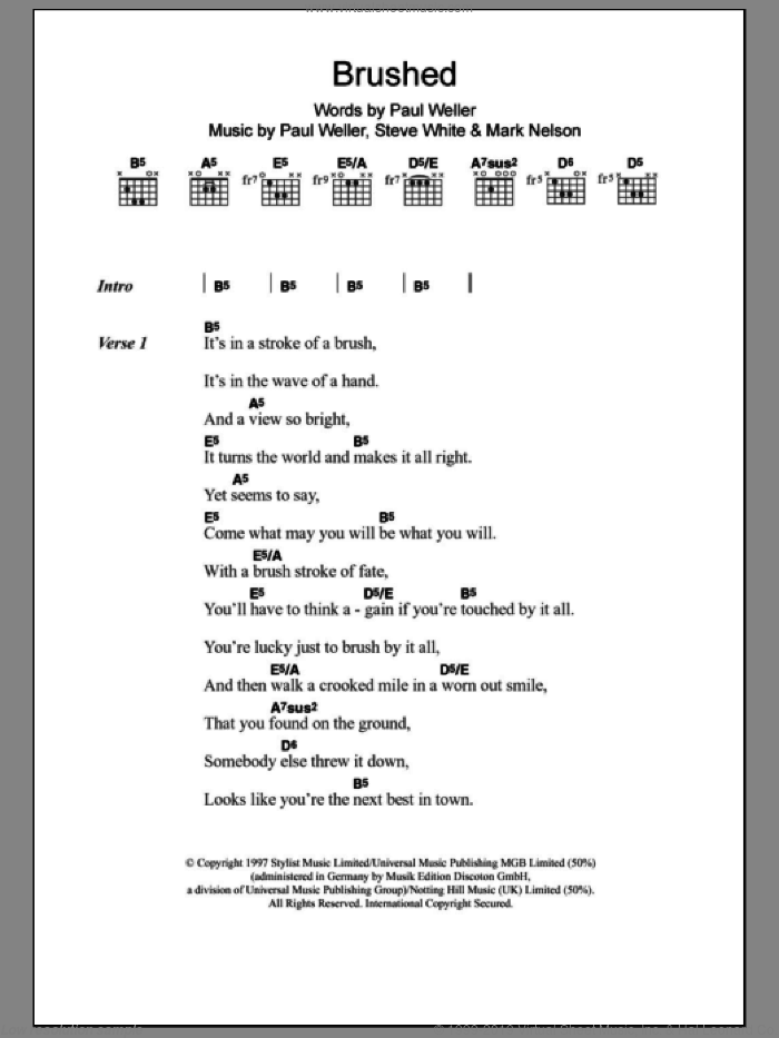 Brushed sheet music for guitar (chords) by Paul Weller, intermediate