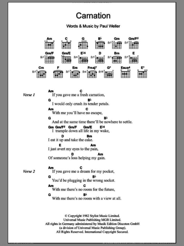 Carnation sheet music for guitar (chords) by The Jam and Paul Weller, intermediate