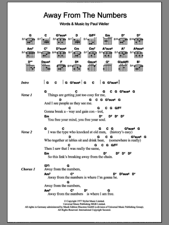 Jam Away From The Numbers Sheet Music For Guitar Chords Pdf