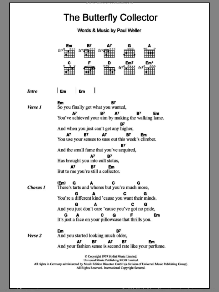 The Butterfly Collector sheet music for guitar (chords) by The Jam and Paul Weller, intermediate. Score Image Preview.