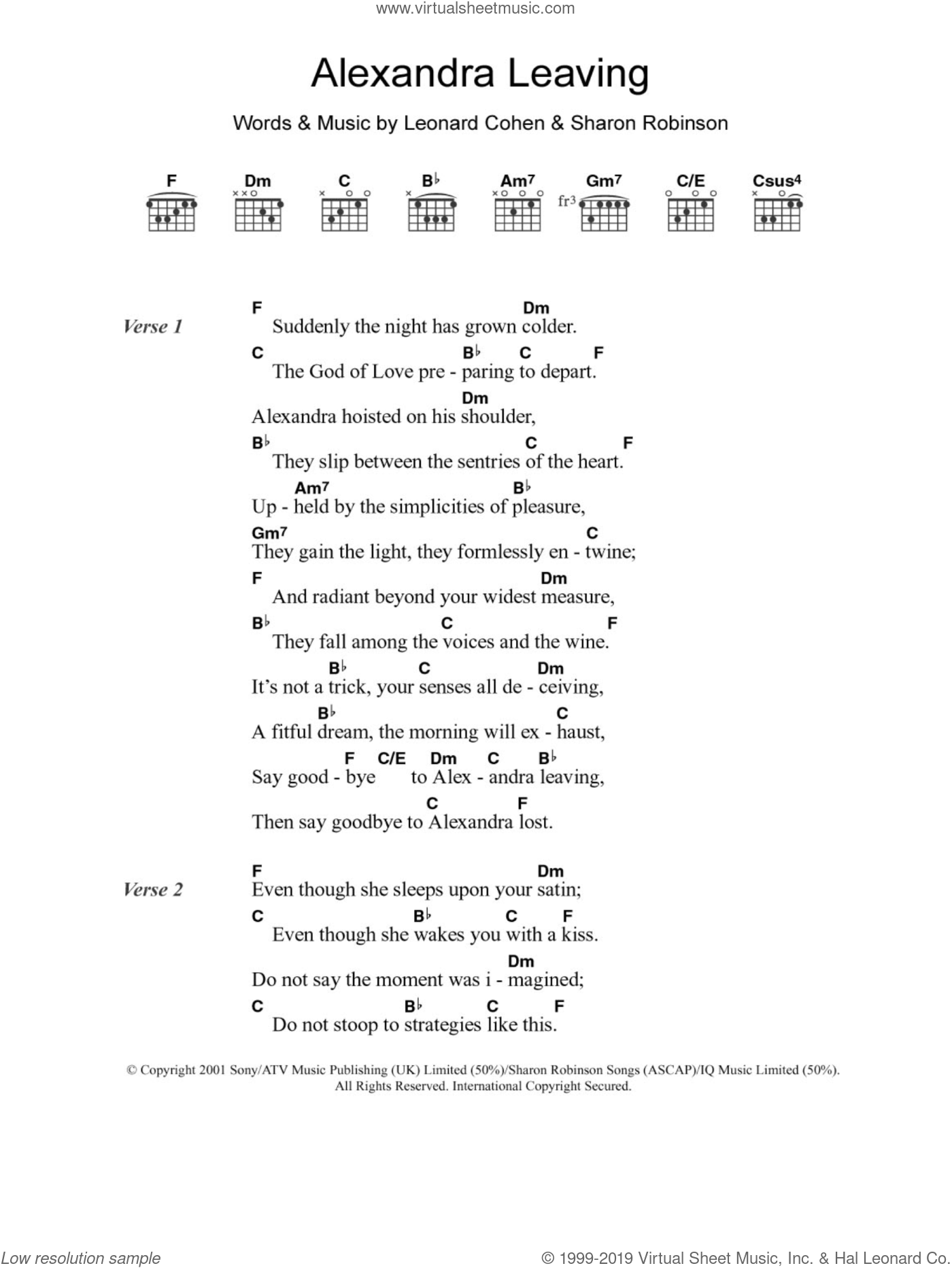 Alexandra Leaving sheet music for guitar (chords, lyrics, melody) by Sharon Robinson