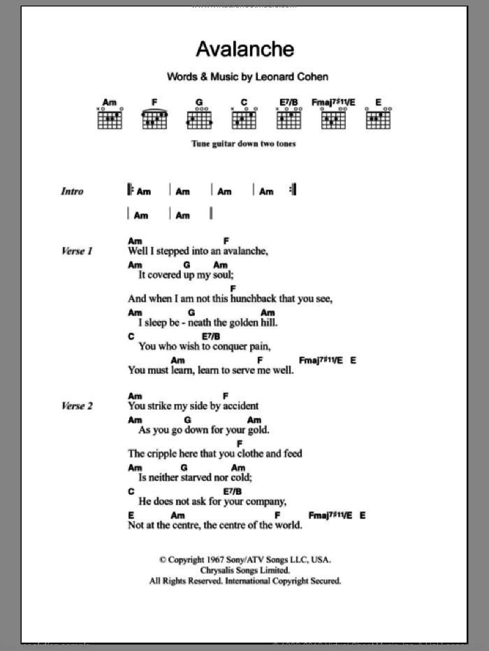 Avalanche sheet music for guitar (chords) by Leonard Cohen, intermediate. Score Image Preview.