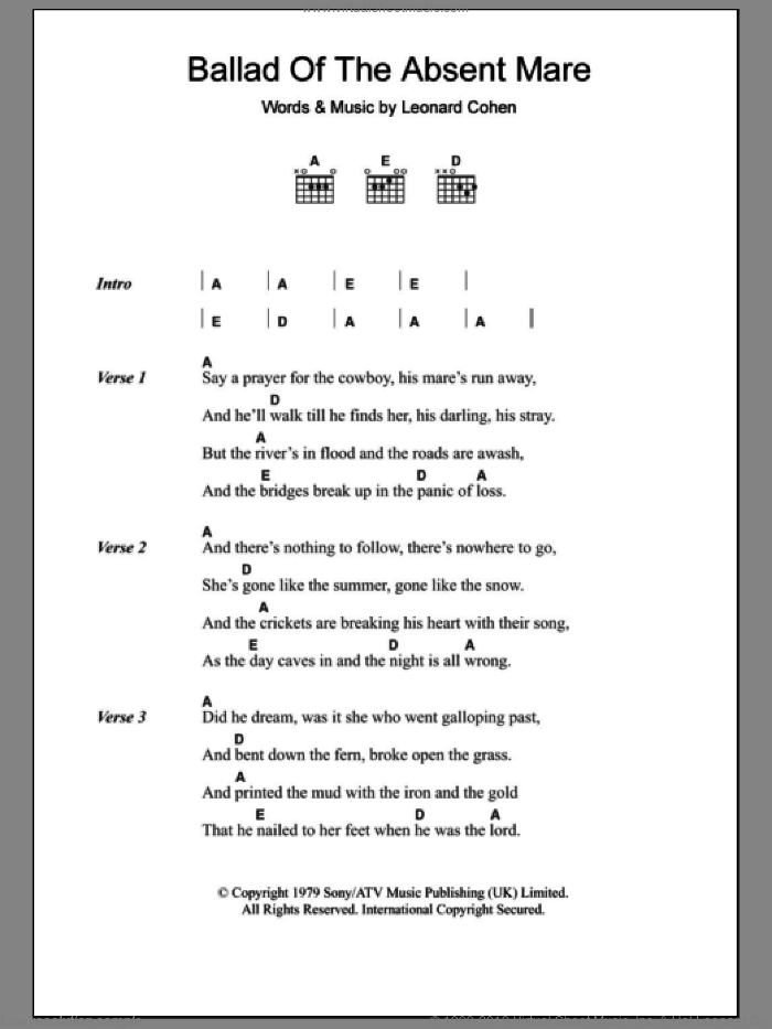 Ballad Of The Absent Mare sheet music for guitar (chords) by Leonard Cohen