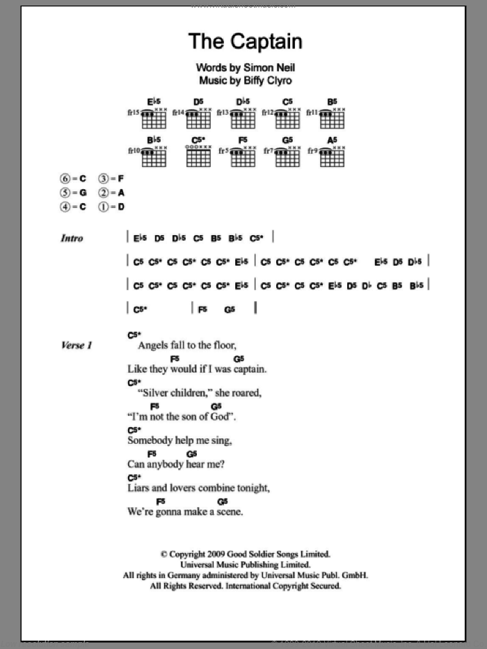 The Captain sheet music for guitar (chords) by Biffy Clyro. Score Image Preview.