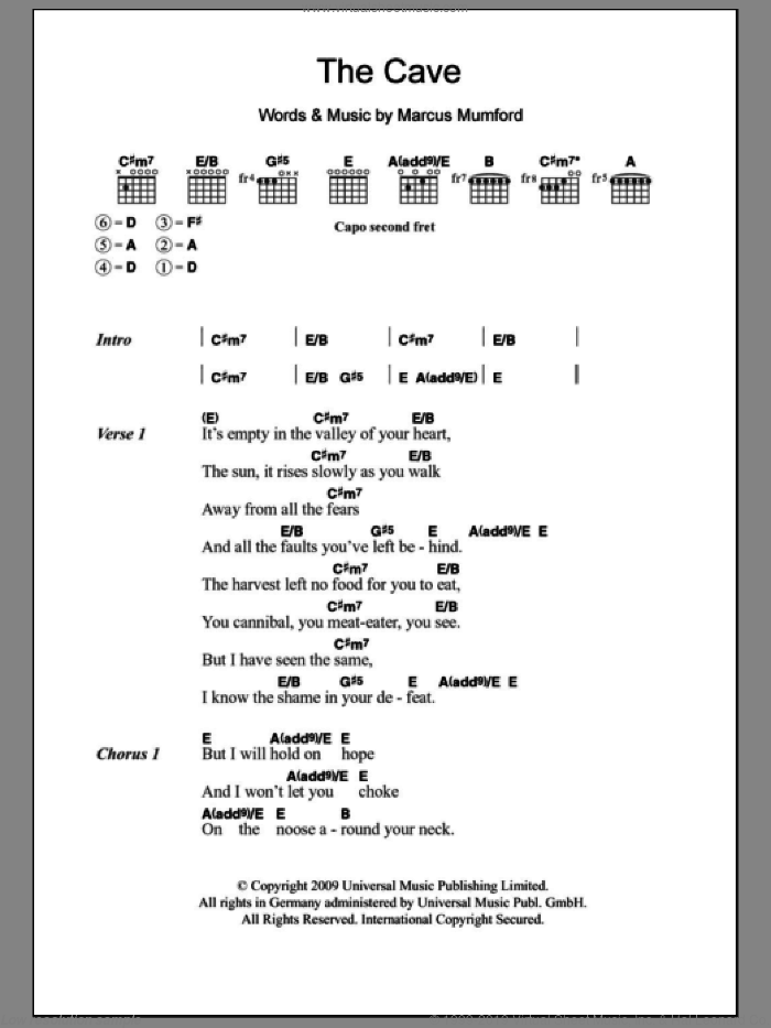 The Cave sheet music for guitar (chords, lyrics, melody) by Marcus Mumford