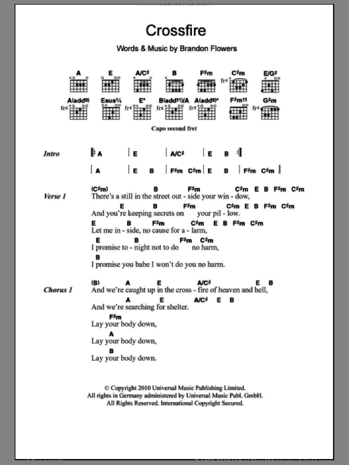 Crossfire sheet music for guitar (chords) by Brandon Flowers. Score Image Preview.