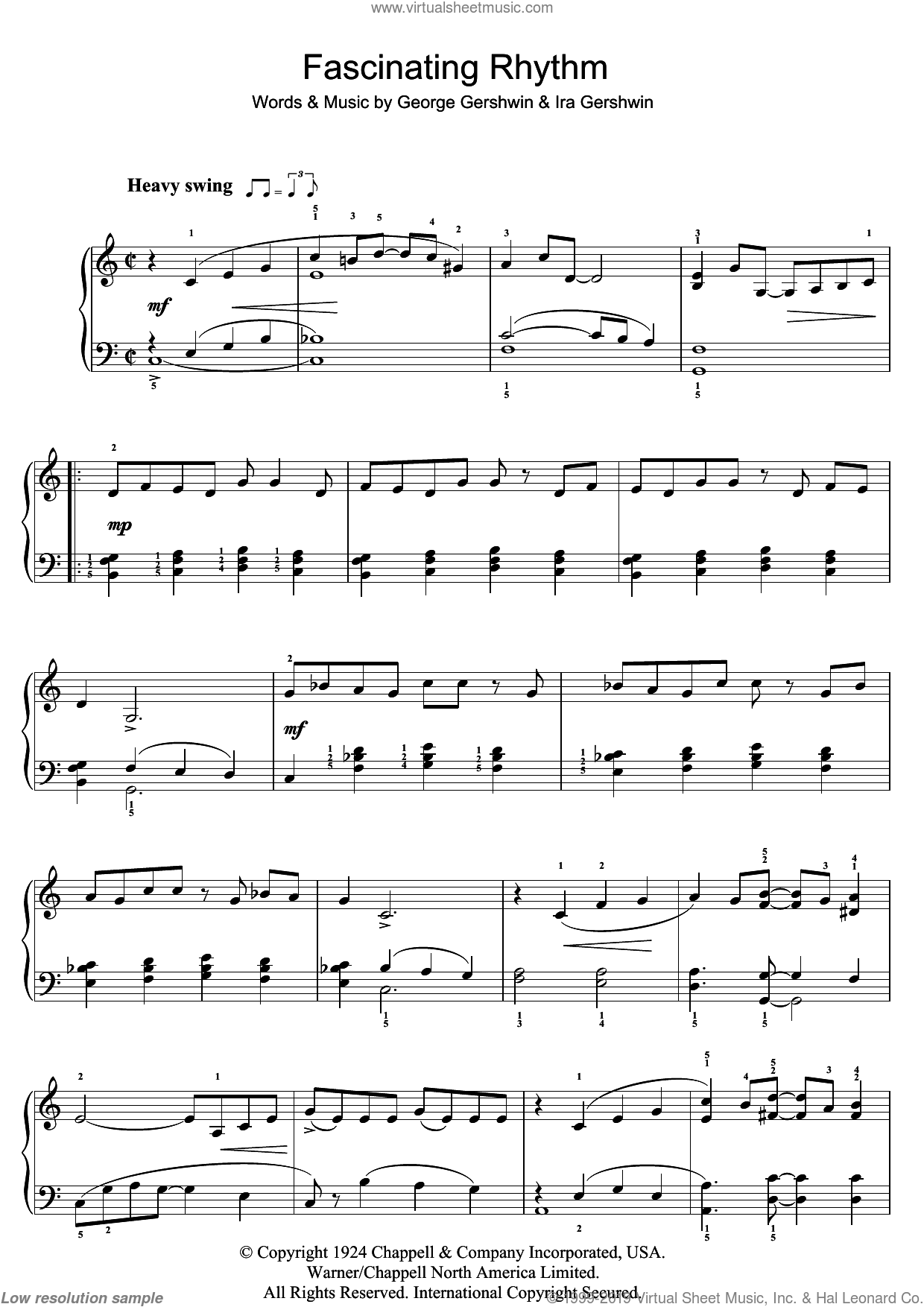 Fascinating Rhythm sheet music for piano solo by Ira Gershwin and George Gershwin