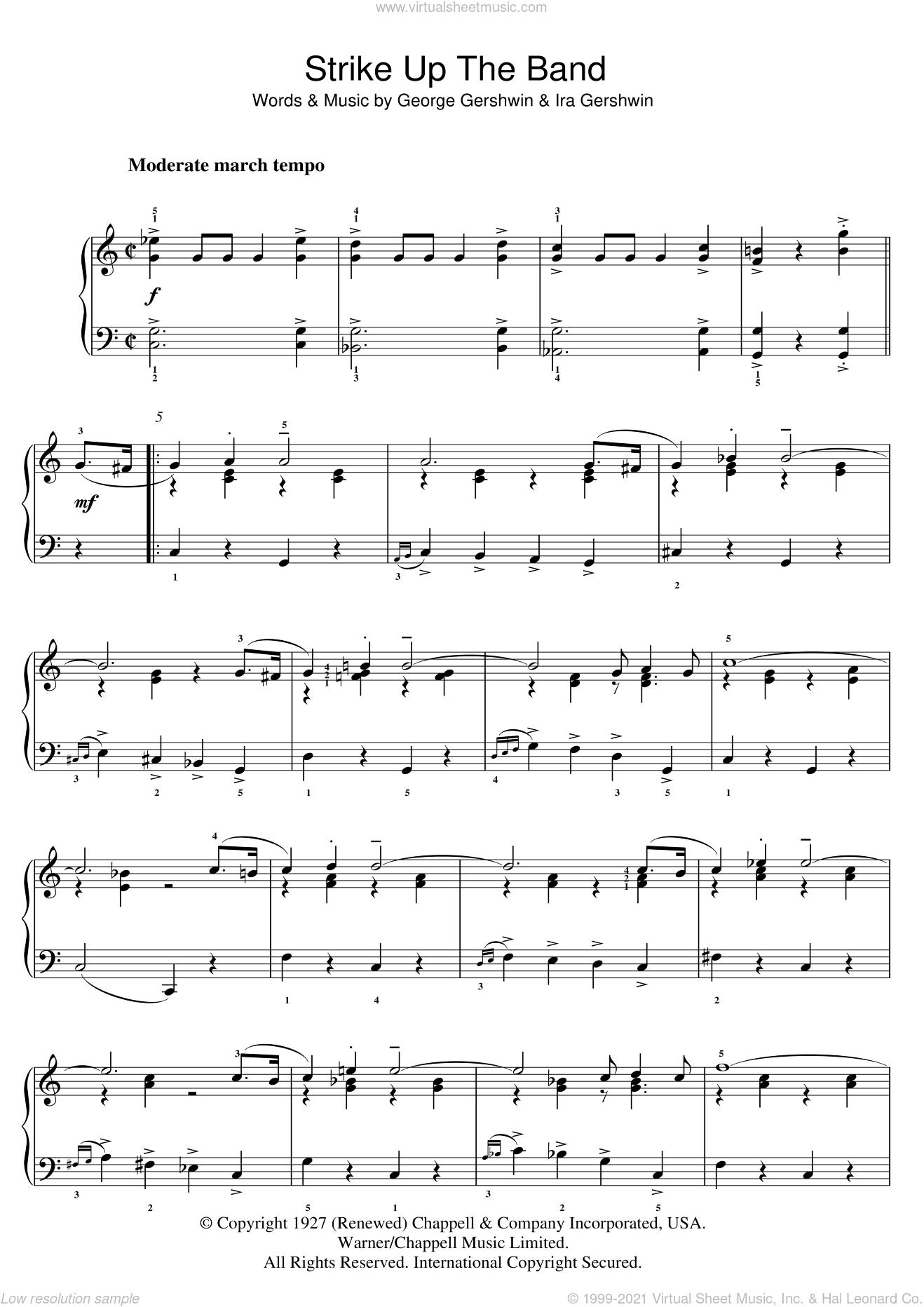 Strike Up The Band sheet music for piano solo (chords) by Ira Gershwin