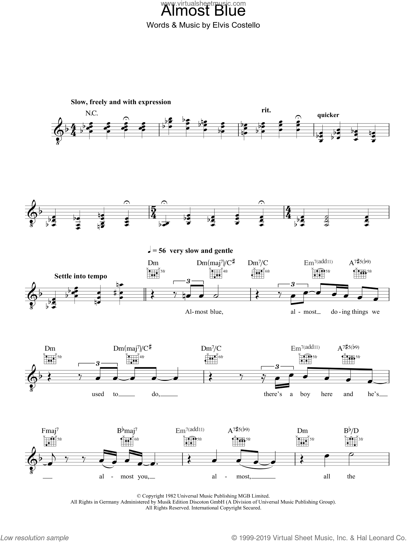 Almost Blue sheet music for voice and other instruments (fake book) by Diana Krall and Elvis Costello, intermediate. Score Image Preview.