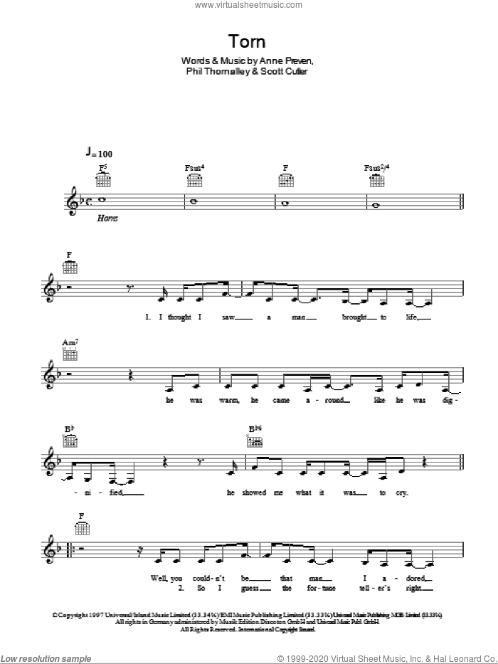 Torn sheet music for voice and other instruments (fake book) by Scott Cutler, Natalie Imbruglia, Anne Preven and Phil Thornalley. Score Image Preview.