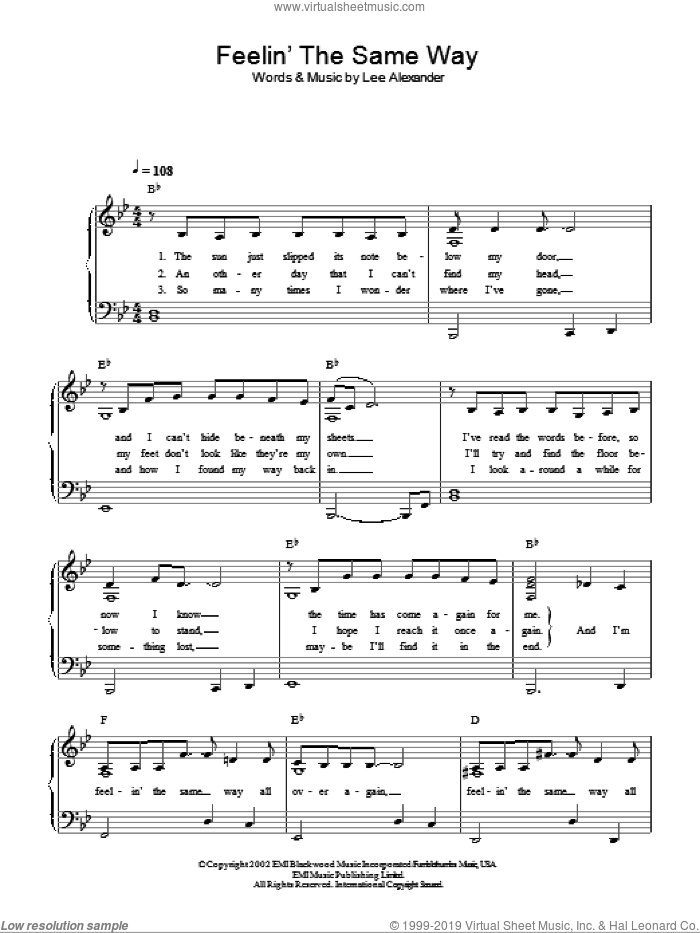 Feelin' The Same Way sheet music for piano solo by Norah Jones and Lee Alexander, easy skill level