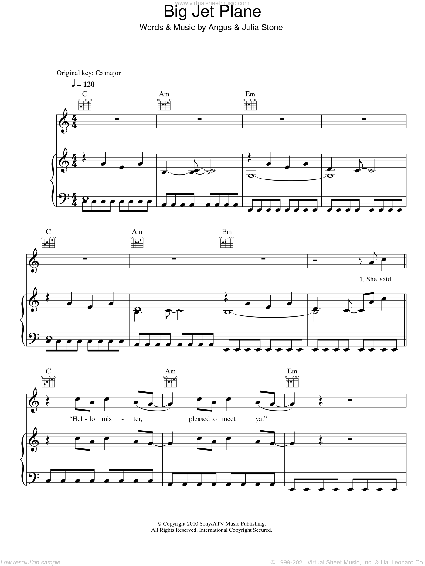 Big Jet Plane sheet music for voice, piano or guitar by Julia Stone and Angus Stone, intermediate voice, piano or guitar. Score Image Preview.