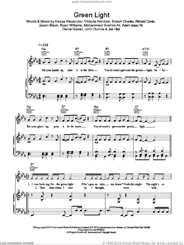 Green Light sheet music for voice, piano or guitar by Roll Deep. Score Image Preview.