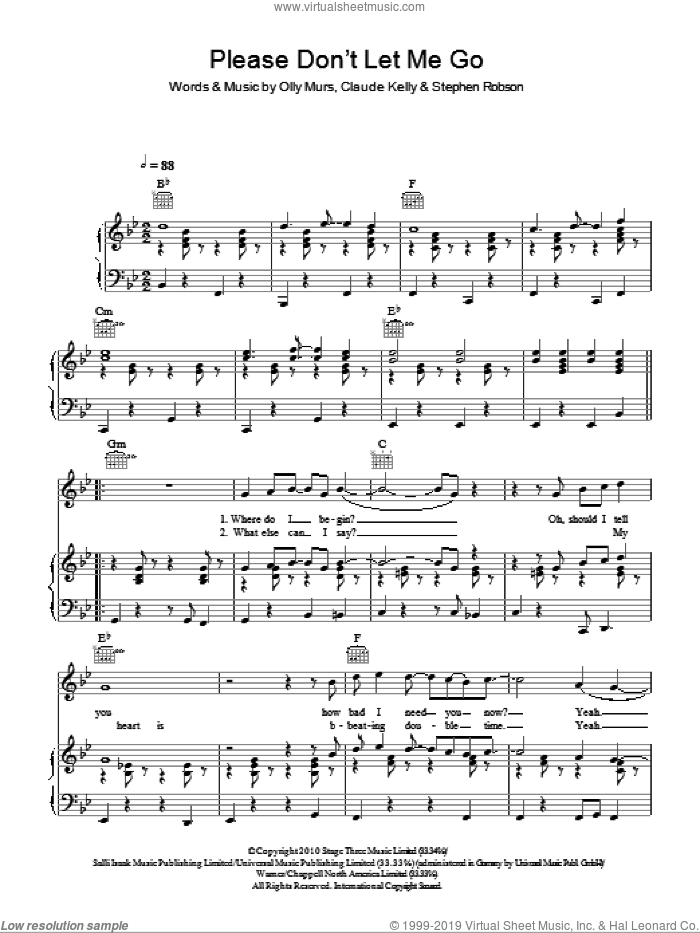 Please Don't Let Me Go sheet music for voice, piano or guitar by Olly Murs, Claude Kelly and Steve Robson, intermediate skill level