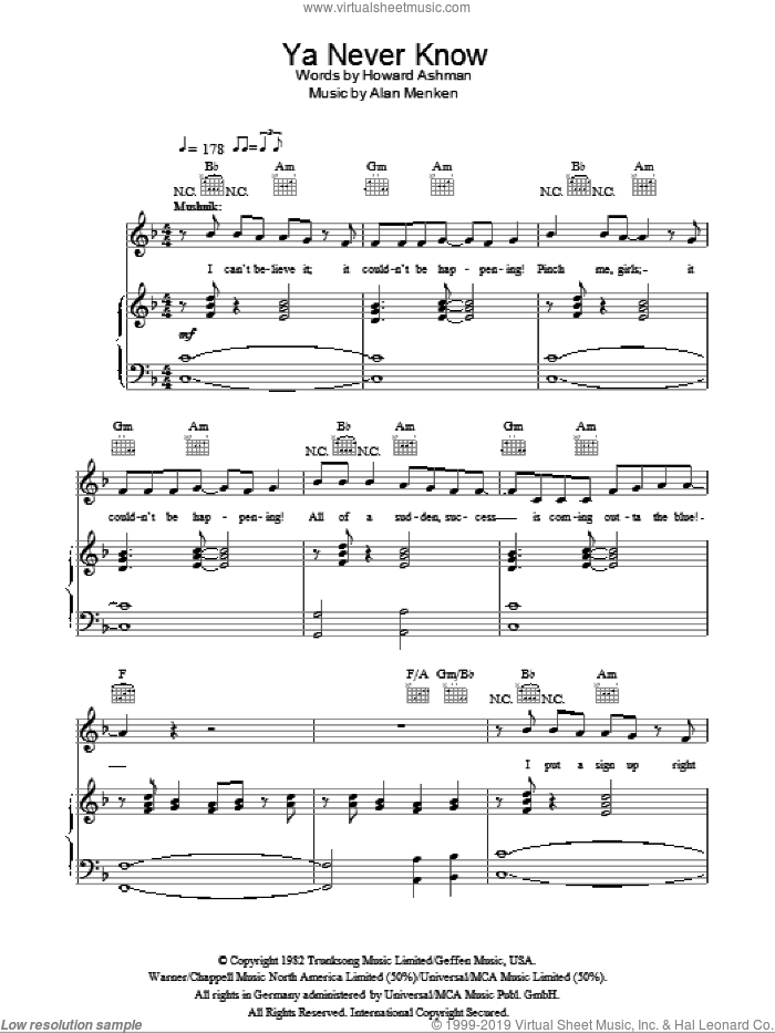 Ya Never Know sheet music for voice, piano or guitar by Howard Ashman and Alan Menken. Score Image Preview.