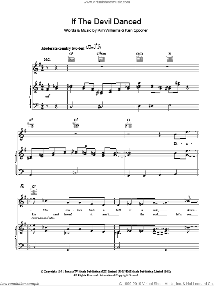 If The Devil Danced sheet music for voice, piano or guitar by Joe Diffie and Kim Williams. Score Image Preview.