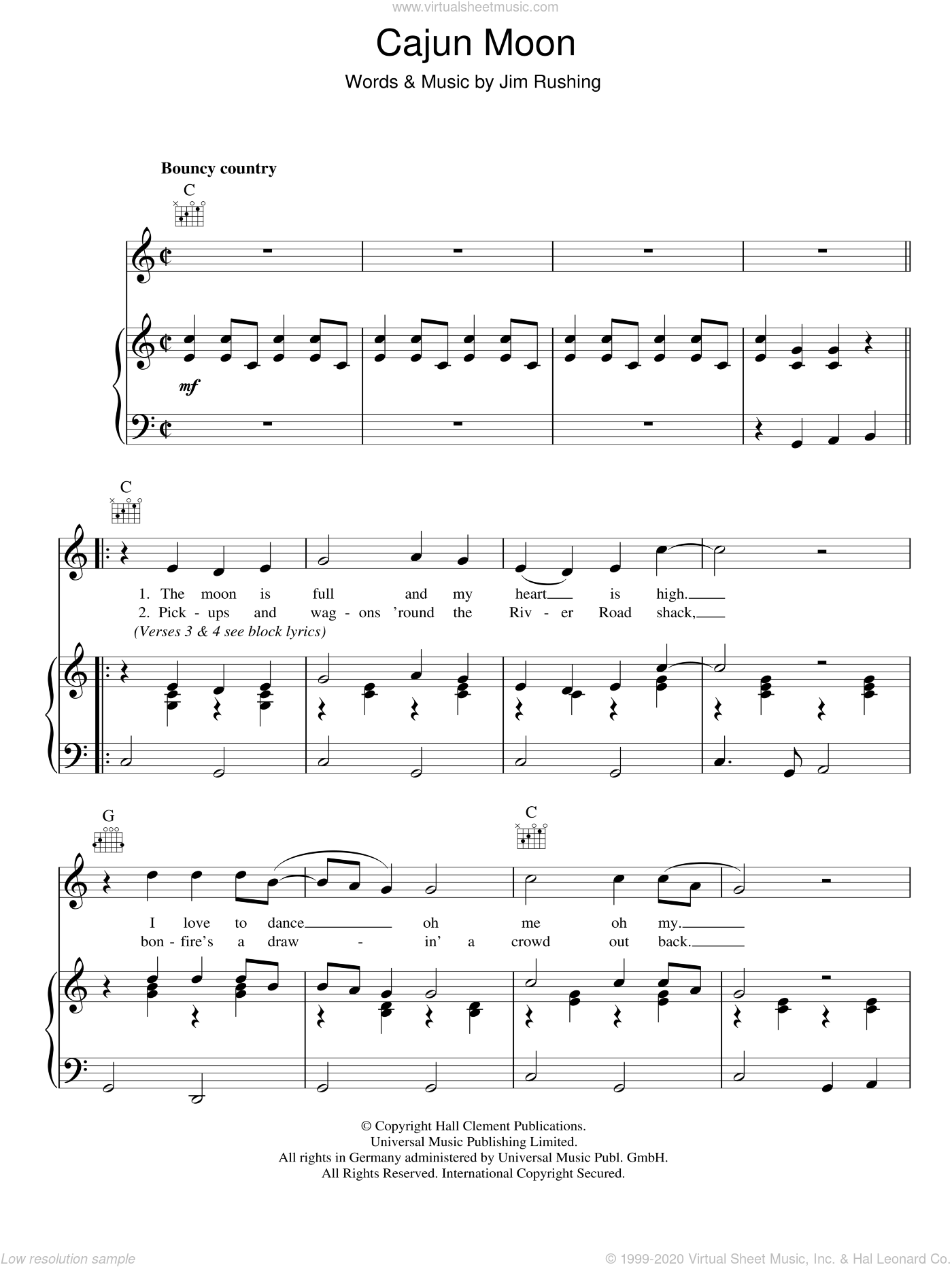 Cajun Moon sheet music for voice, piano or guitar by Ricky Skaggs and Jim Rushing, intermediate voice, piano or guitar. Score Image Preview.