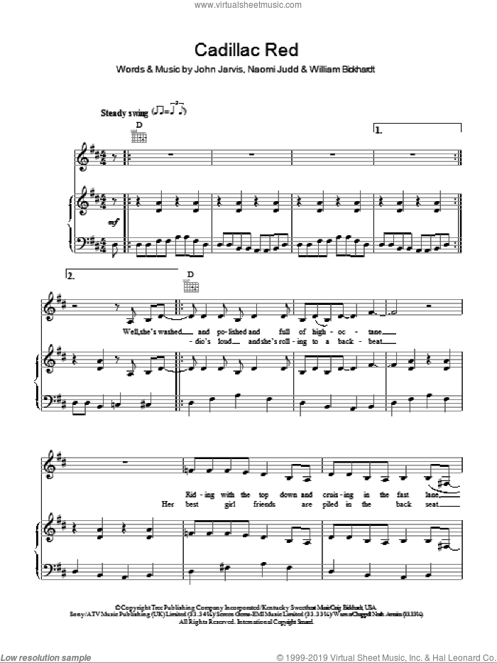 Cadillac Red sheet music for voice, piano or guitar by William Bickhardt, The Judds and John Jarvis. Score Image Preview.