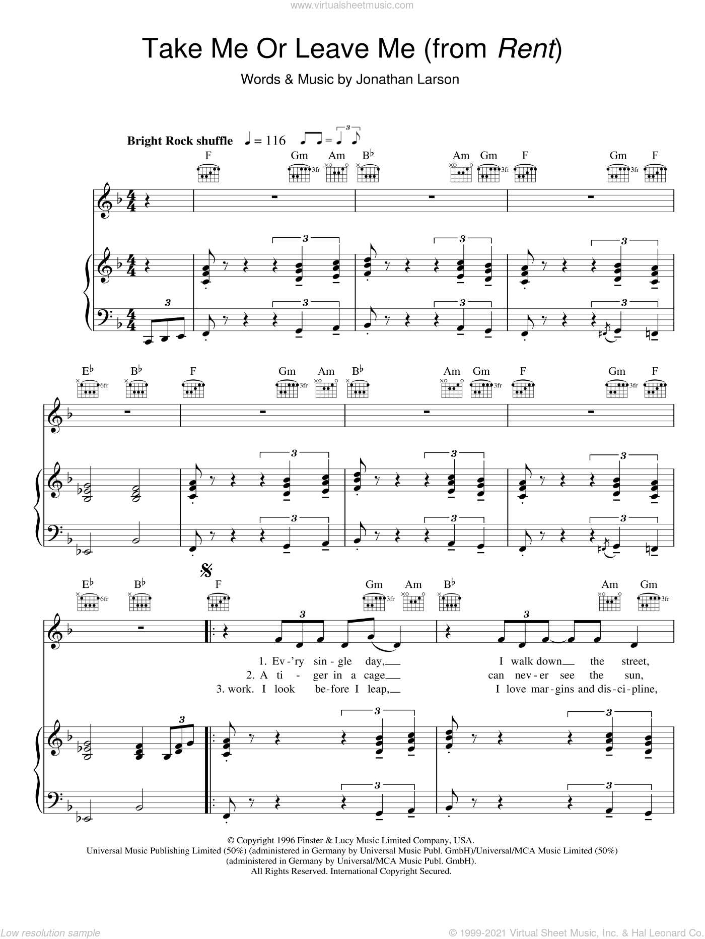 Take Me Or Leave Me sheet music for voice, piano or guitar by Jonathan Larson and Rent (Musical), intermediate skill level