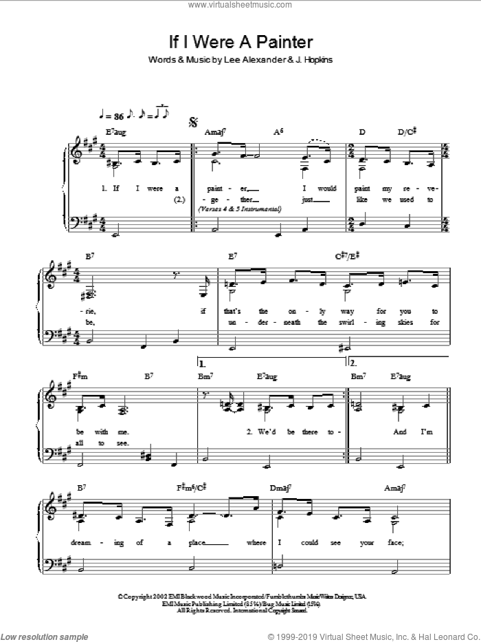 If I Were A Painter sheet music for piano solo by Norah Jones, J. Hopkins and Lee Alexander, easy skill level