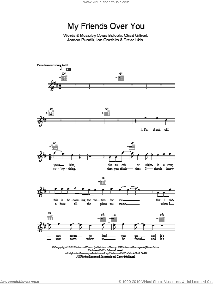 My Friends Over You sheet music for voice and other instruments (fake book) by Stece Klein and New Found Glory. Score Image Preview.