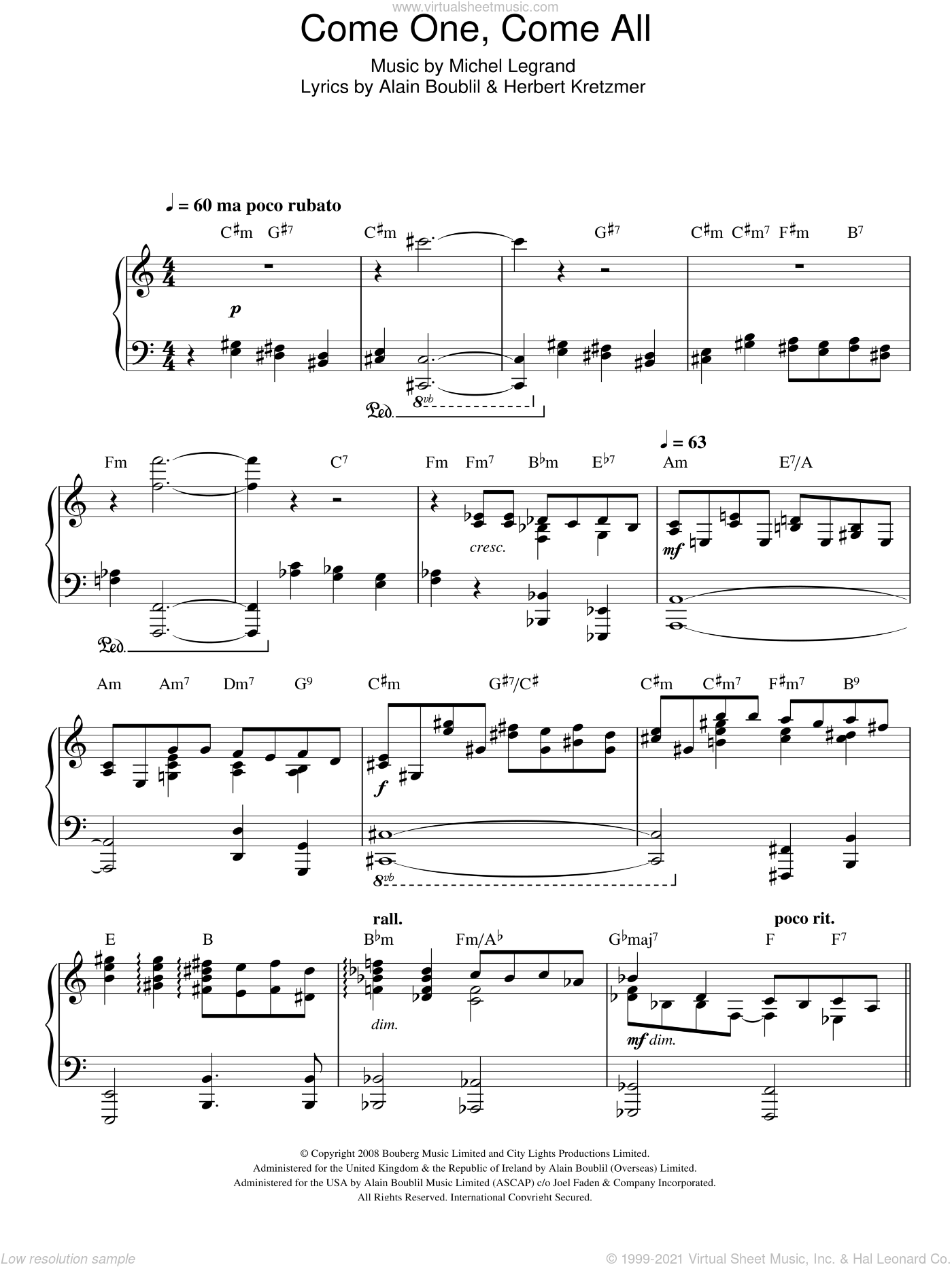 Come One, Come All sheet music for voice, piano or guitar by Herbert Kretzmer, Alain Boublil and Michel LeGrand. Score Image Preview.
