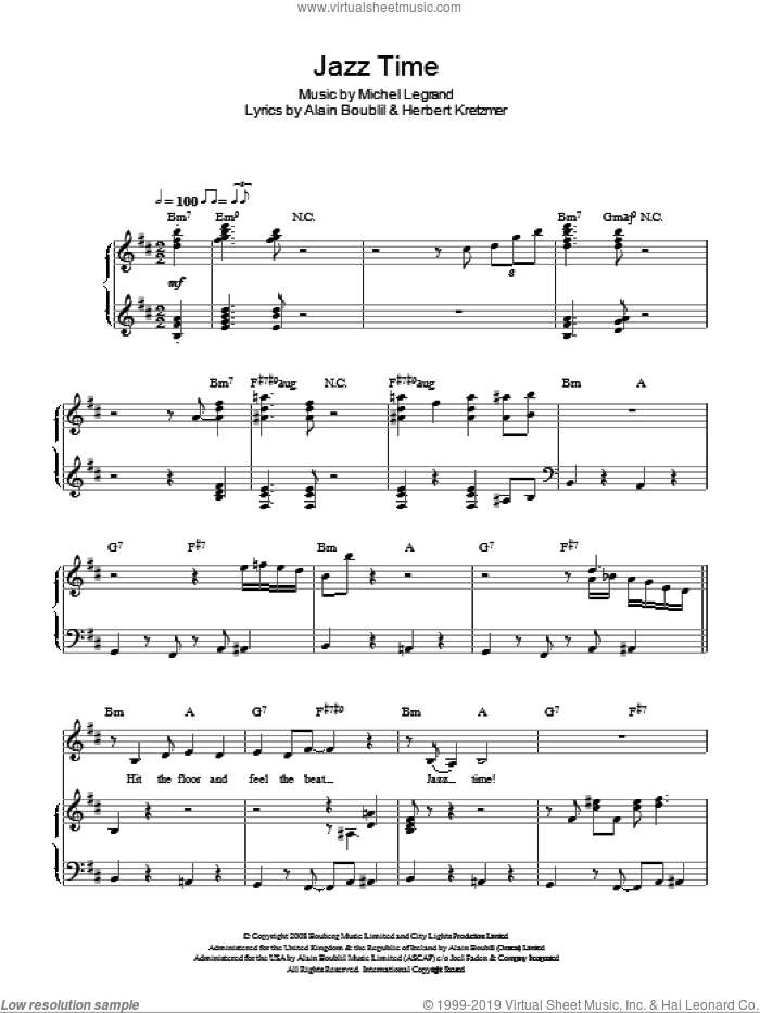 Jazz Time sheet music for voice, piano or guitar by Michel LeGrand, Alain Boublil and Herbert Kretzmer. Score Image Preview.