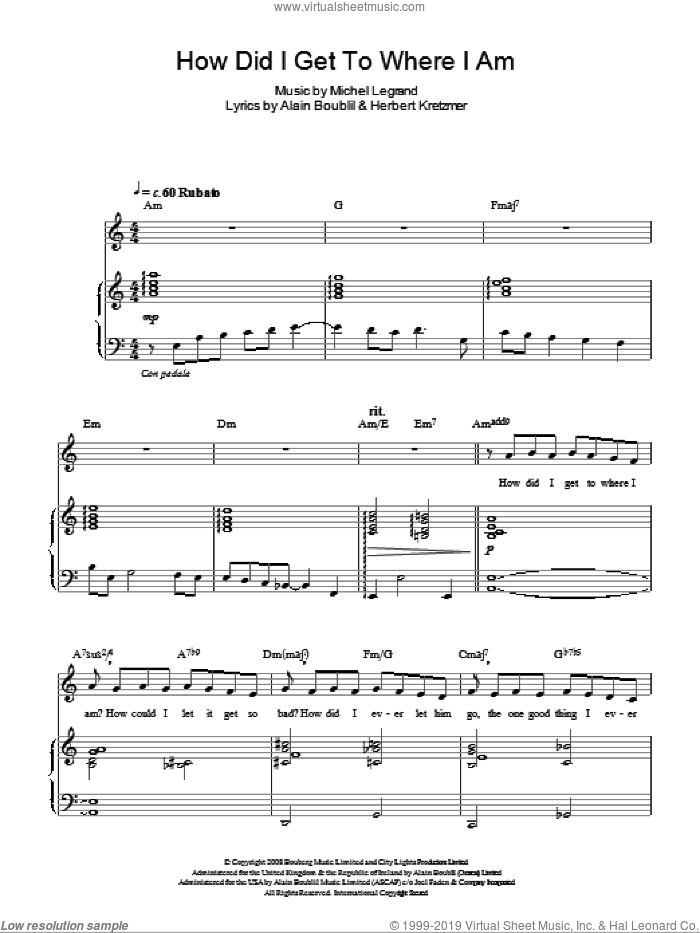 How Did I Get To Where I Am sheet music for voice, piano or guitar by Herbert Kretzmer, Alain Boublil and Michel LeGrand. Score Image Preview.