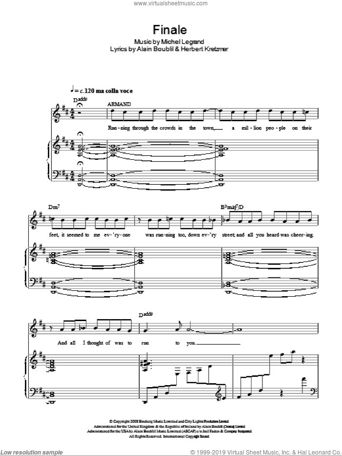 Finale sheet music for voice, piano or guitar by Michel LeGrand, Alain Boublil and Herbert Kretzmer. Score Image Preview.