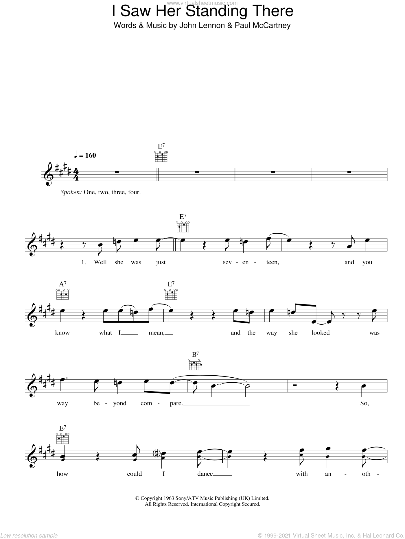 I Saw Her Standing There sheet music for voice and other instruments (fake book) by Paul McCartney, The Beatles and John Lennon. Score Image Preview.