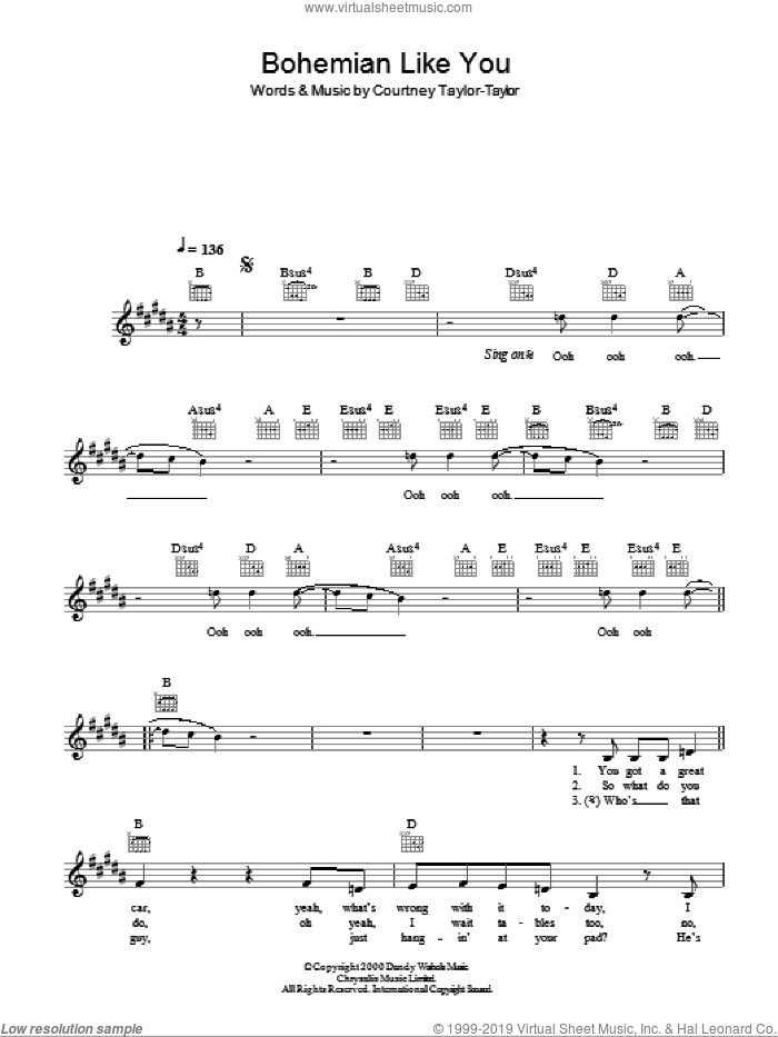 Bohemian Like You sheet music for voice and other instruments (fake book) by Courtney Taylor-Taylor. Score Image Preview.