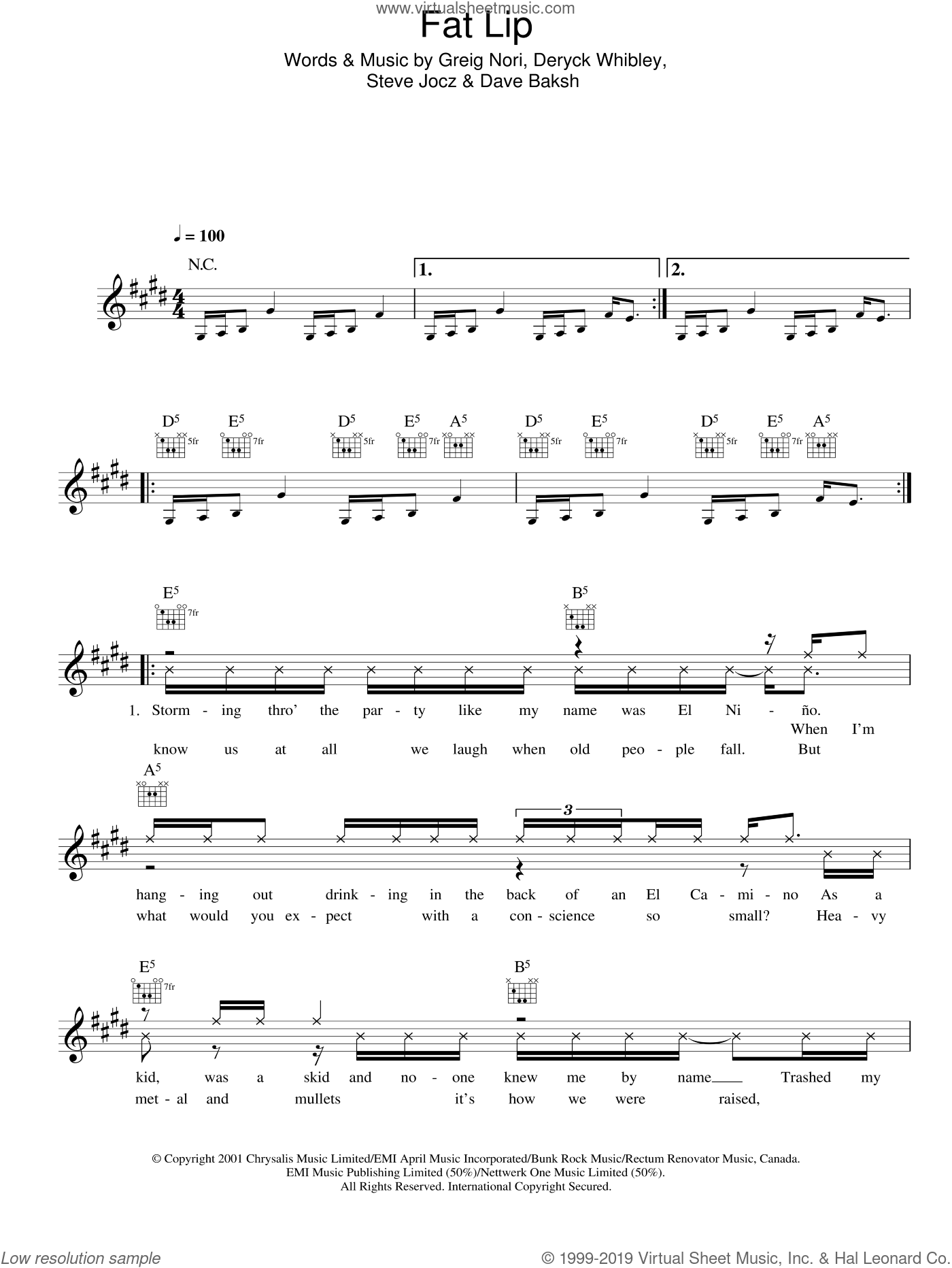 Fat Lip sheet music for voice and other instruments (fake book) by Sum 41. Score Image Preview.