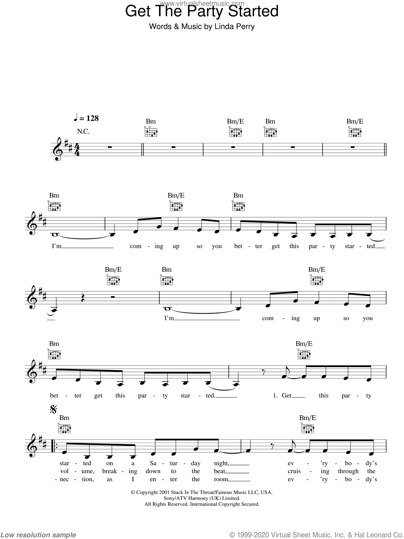 Get The Party Started sheet music for voice and other instruments (fake book) by Linda Perry and Miscellaneous. Score Image Preview.