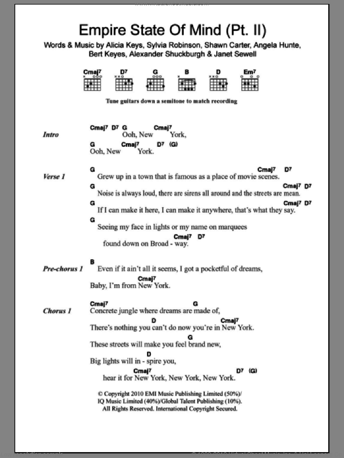 Empire State Of Mind (Pt.II) sheet music for guitar (chords) by Alicia Keys, Shawn Carter and Sylvia Robinson, intermediate. Score Image Preview.
