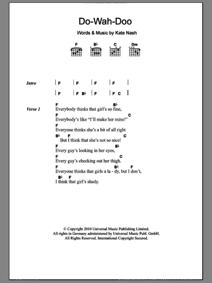 Do-Wah-Doo sheet music for guitar (chords) by Kate Nash. Score Image Preview.