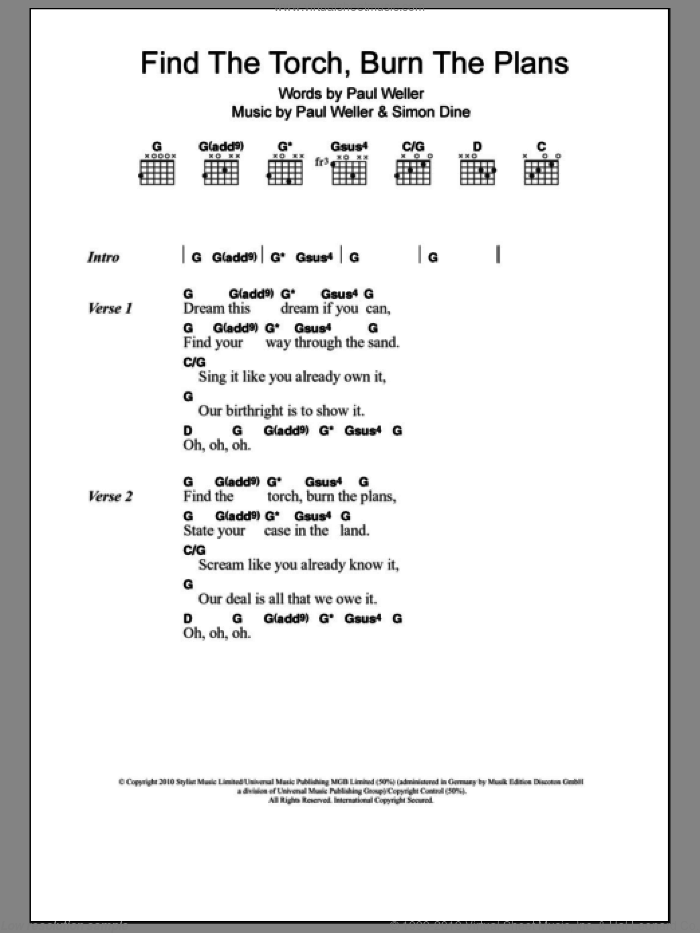 Find The Torch, Burn The Plans sheet music for guitar (chords) by Simon Dine and Paul Weller. Score Image Preview.